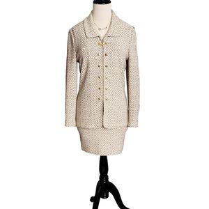 St. John Suit Set Skirt Jacket 2 Tweed Knit cream